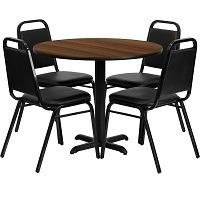Flash Furniture 36'' Round Walnut Laminate Table Set Picks