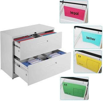 Purlove 2 Drawer White Lateral File Cabinett