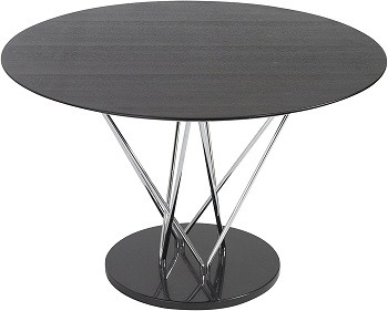 eS round steel and ebony conference table