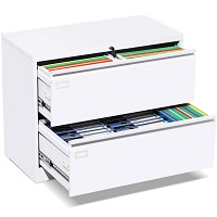 2 Drawer Lateral File Cabinet with Lock, White picks
