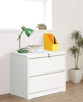 2 Drawer Lateral File Cabinet with Lock, White review