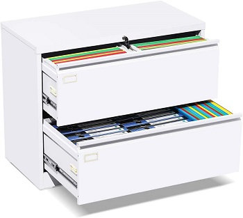 2 Drawer Lateral File Cabinet with Lock, White