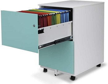 Aurora Mobile File Cabinet 2-Drawer Metal with
