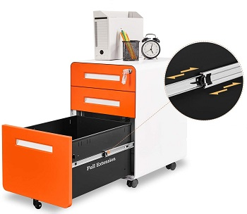 Bonnlo 3 Drawer Mobile File Cabinet with
