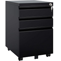 DEVAISE 3 Drawer Mobile File Cabinet with Lock, Metal picks