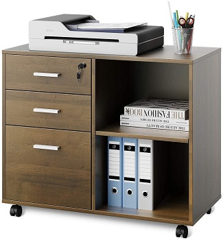 DEVAISE 3-Drawer Wood File Cabinet with Lock