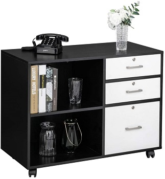 Bonnlo Wood File Cabinet with 3 Drawer