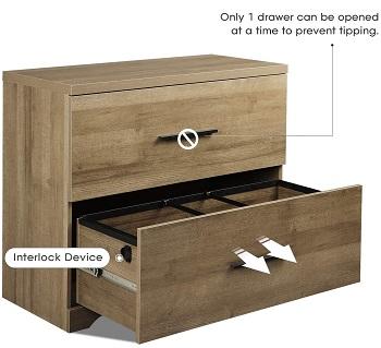 DEVAISE 2 Drawer Wood Latera