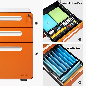 DEVAISE 3-Drawer Mobile File Cabinet with Anti-tilt review