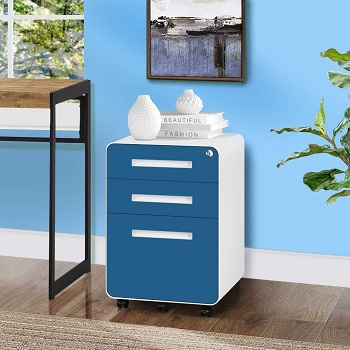 INTERGREAT 3 Drawer Rolling File Cabinet with Lock