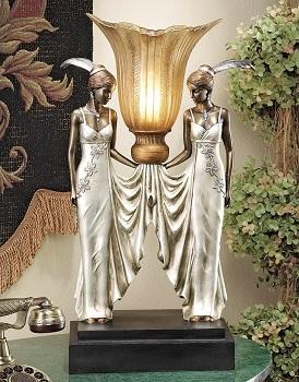 BEST AESTHETIC ART DECO Design Toscano Peacock Desk Lamp