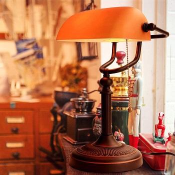 BEST AMBER ANTIQUE Jeuneu Banker's Lamp