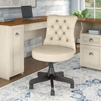 BEST ARMLESS ANTIQUE LEATHER DESK CHAIR