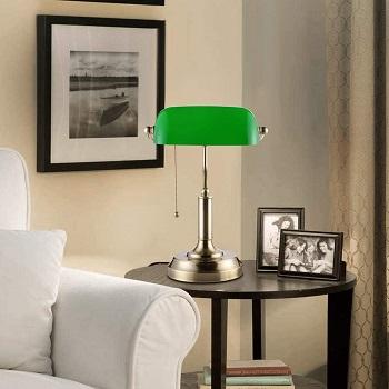 BEST BRASS GREEN GLASS SHADE Torchstar Traditional Bankers Desk Lamp