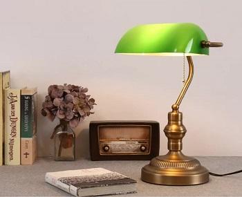 BEST EMERALITE GREEN GLASS SHADE Asoko Traditional Bankers Desk Lamp