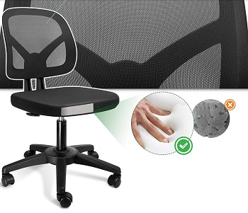 BEST ERGONOMIC ARMLESS OFFICE CHAIR WITH LUMBAR SUPPORT
