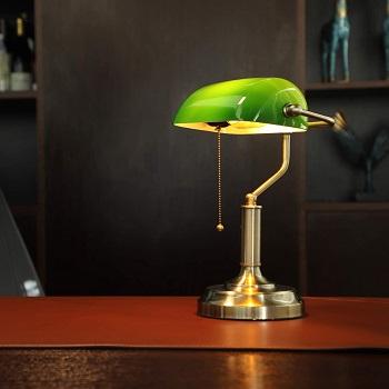 BEST GREEN ANTIQUE Torchstar Banker's Lamp