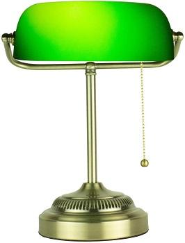 BEST LED ANTIQUE Newhouse Morgan Banker's Lamp