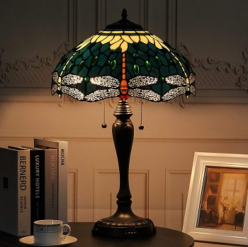 BEST TIFFANY-STYLE GREEN GLASS SHADE DreaLass Tiffany Style Desk Lamp