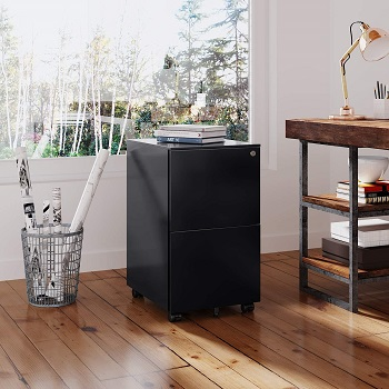Best 2-drawer Fully Assembled Devaise Black File Cabinet