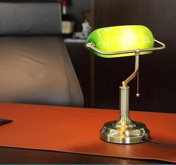 Best Brass Green Glass Shade Desk Lamp