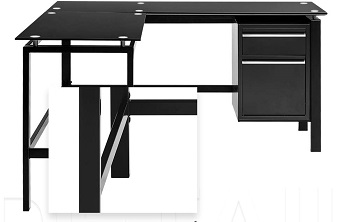 Black L Shaped Computer Office