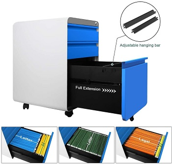 Dprodo 3 Drawers Mobile File Cabinet