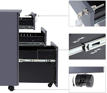 SONGMICS Mobile File Cabinet with 3
