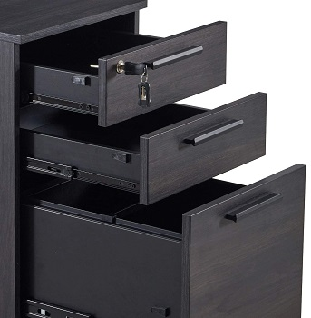 3-Drawer Office Filing Storage Cabinet with Lock Drawer