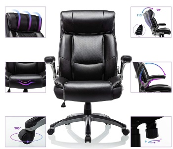 BEST WITH BACK SUPPORT HIGH BACK OFFICE CHAIR WITH ADJUSTABLE ARMS