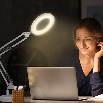 Newacalox 2-in-1 Magnifying Desk Lamp