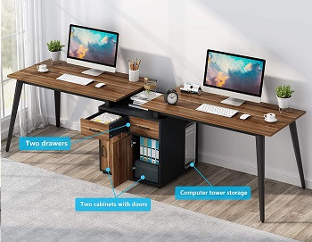 Tribesigns Two Person Desk with Storage