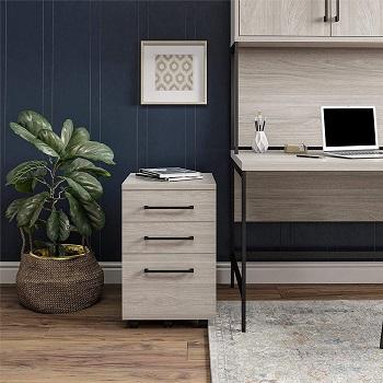 Ameriwood Parkside Mobile File Cabinet in Light Brown Oak