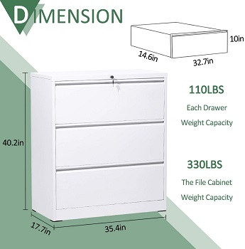 BEST LATERAL 3-DRAWER FILE CABINET WHITE