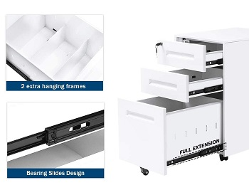BEST ON WHEELS 3-DRAWER FILE CABINET WHITE