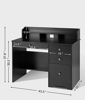 BEST SMALL BLACK DESK WITH FILE DRAWER