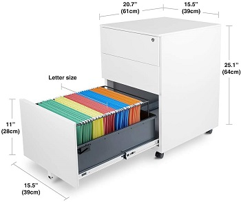 BEST WHITE 3-DRAWER METAL FILE CABINET