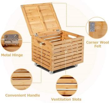 Giantex Rolling Storage Box Bamboo