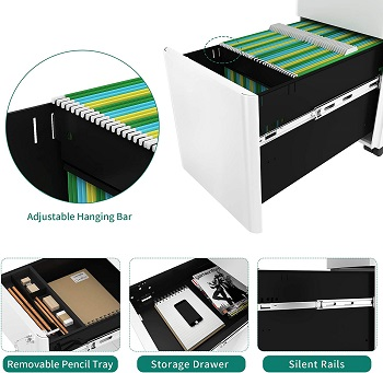 YITAHOME 3-Drawer Metal Filing Cabinet