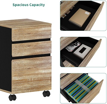 YITAHOME 3 Drawer Mobile File Cabinet