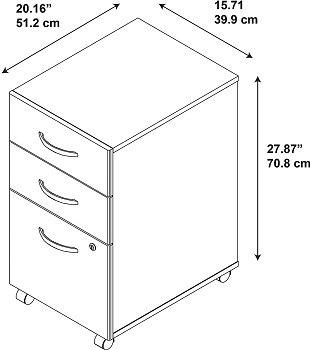 BEST HOME OFFICE 3-DRAWER MOBILE FILE CABINET