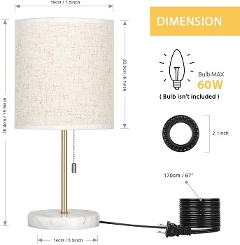 HAITRAL Bedside Table Lamp - Small