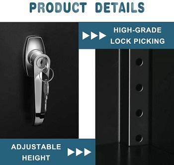 Pataku Metal Storage Cabinet, Lockable Steel