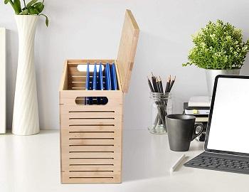 Premium Bamboo Desktop File Storage Organizer