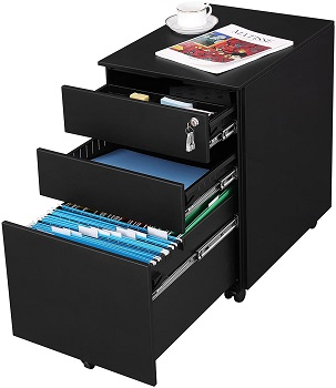 SONGMICS Steel File Cabinet 3 Drawer with