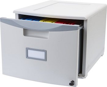 Storex Plastic 1-Drawer Mobile File Cabinet