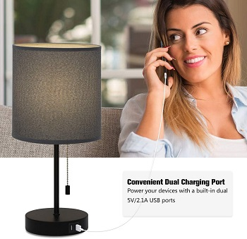 USB Bedside Table Lamp, Nightstand Lamp
