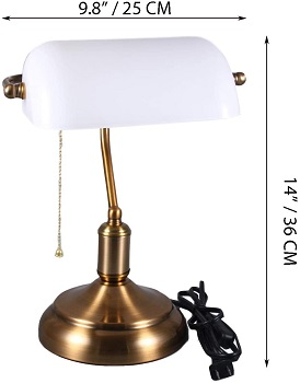 BEST ANTIQUE WHITE BANKERS LAMP