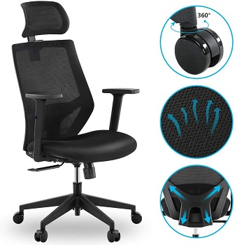 BEST MESH ERGONOMIC OFFICE CHAIR WITH ADJUSTABLE ARMS