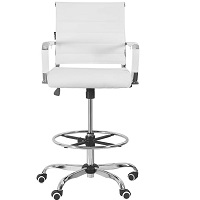 BEST WITH ARMRESTS WHITE DRAFTING CHAIR Summary